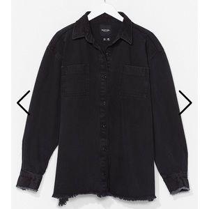 Nasty gal washed out oversized black shacket